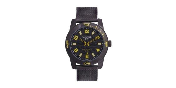 Pánske čierne analógové hodinky so žltými detailmi Lancaster