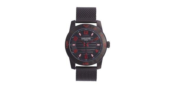 Pánske čierne analógové hodinky s červenými detaily Lancaster