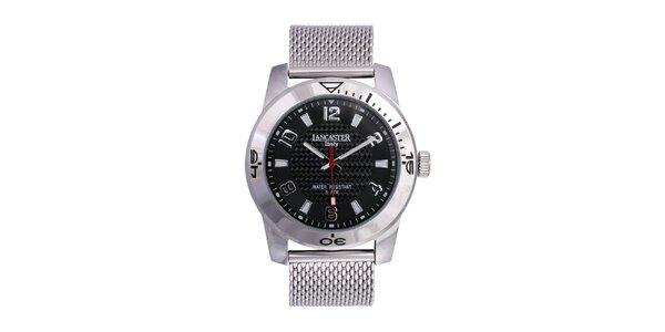 Pánske strieborné analógové hodinky z ušľachtilej nerez oceľi Lancaster