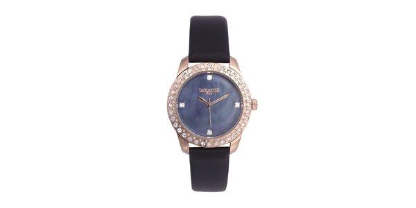 Dámske čierno-zlaté analógové hodinky so Swarovski elementmi Lancaster