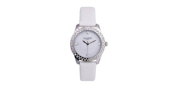 Dámske biele analógové hodinky so Swarovski elementmi Lancaster
