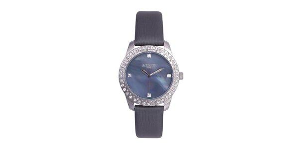 Dámske čierne analógové hodinky so Swarovski elementmi Lancaster