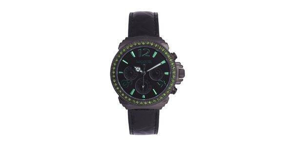 Dámske čierne hodinky so zelenými kamienkami a koženým remienkom Lancaster