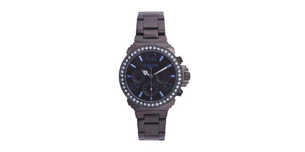 Dámske čierne oceľové hodinky s modrými kamienkami Lancaster