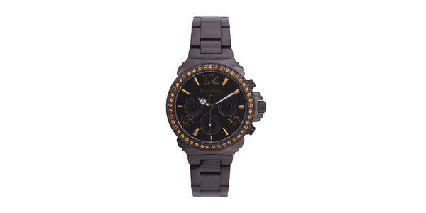 Dámske čierne oceľové hodinky s oranžovými kamienkami Lancaster