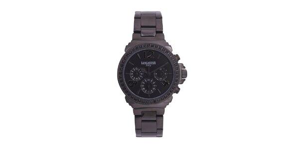 Dámske čierne oceľové hodinky s čiernymi kamienkami Lancaster