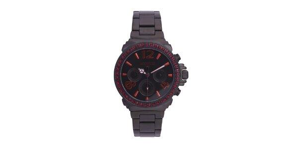 Dámske čierne oceľové hodinky s červenými kamienkami Lancaster