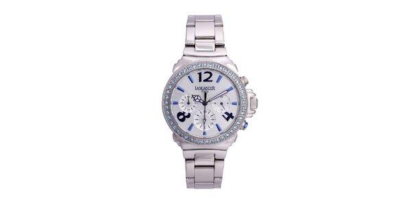 Dámske strieborné oceľové hodinky s kamienkami Lancaster