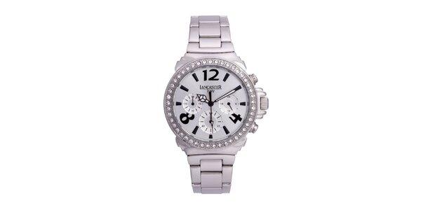 Dámske strieborné oceľové hodinky s bielymi kamienkami Lancaster