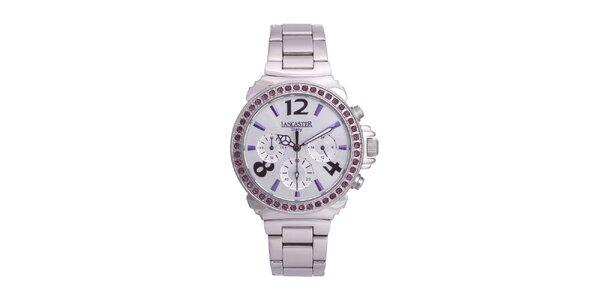 Dámske strieborné oceľové hodinky s fialovými kamienkami Lancaster