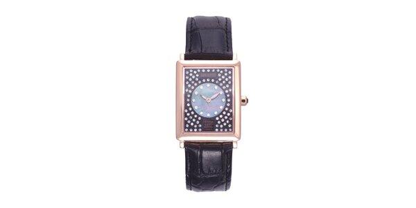 Dámske čierno-zlaté analógové hodinky s kryštálmi Swarovski Lancaster