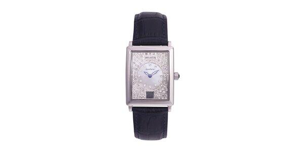 Dámske tmavo modré analógové hodinky s kryštálmi Swarovski Lancaster
