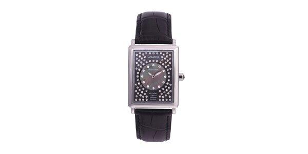 Dámske čierne analógové hodinky s kryštálmi Swarovski Lancaster