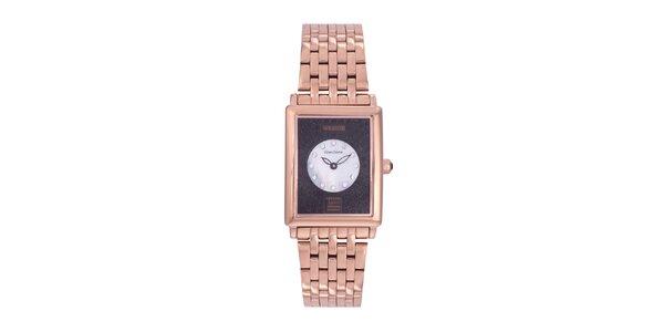 Dámske zlaté analógové hodinky s čiernymi kryštálmi Swarovski Lancaster