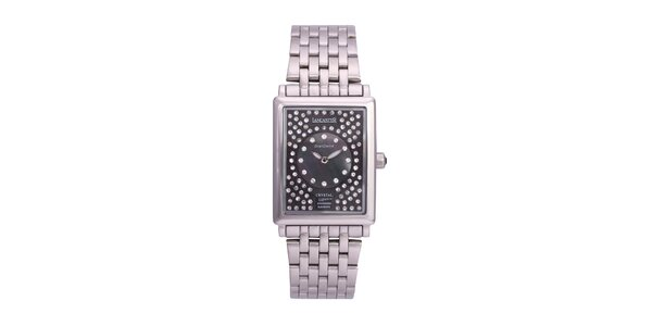 Dámske strieborné analógové hodinky s kryštálmi Swarovski Lancaster