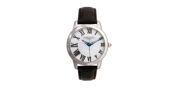Dámske strieborné hodinky s čiernym koženým remienkom a guľatým ciferníkom…