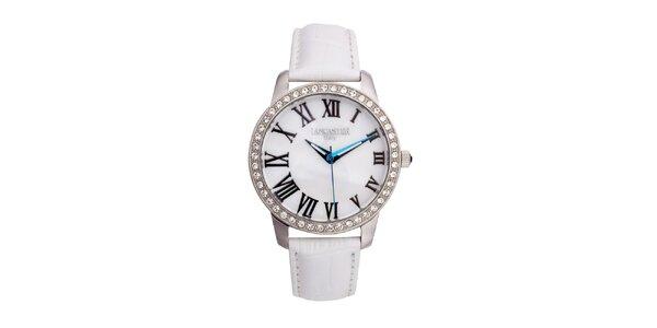 Dámske strieborné hodinky s bielym koženým remienkom Lancaster