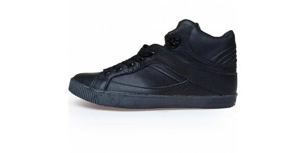 Pánske čierne kožené tenisky Run Athletics so zateplenou stielkou