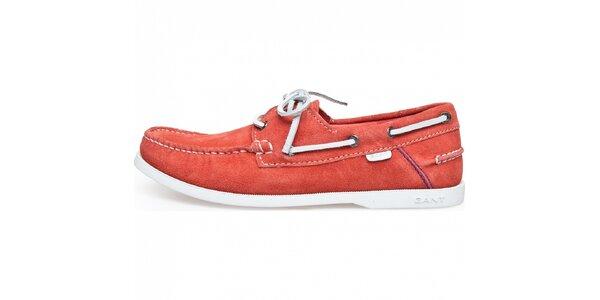 Pánske červené semišové mokasíny Gant