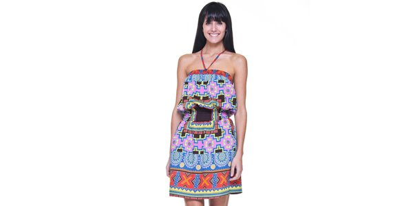 Dámske fialovo-modré pestré šaty bez rukávov Kool