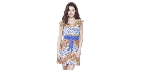 Dámske oranžovo-modré pestré šaty s modrým opaskom Kool