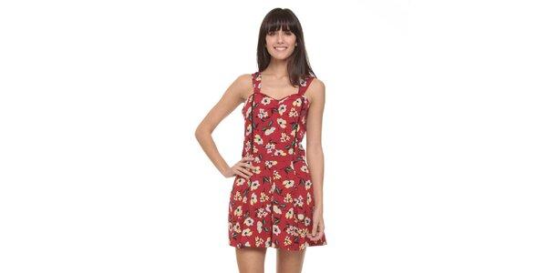 Dámsky červený overal s kvetinovým vzorom Roxy