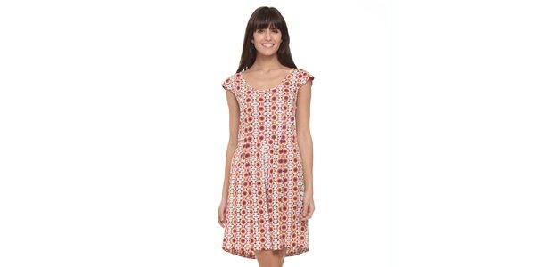 Dámske ružovo-biele letné šaty s psychedelickým vzorom Kool
