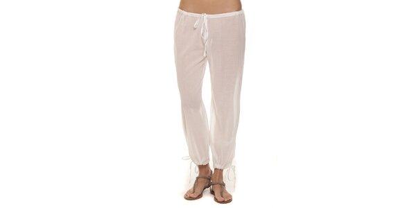 Dámske biele nohavice s mašličkami Kool
