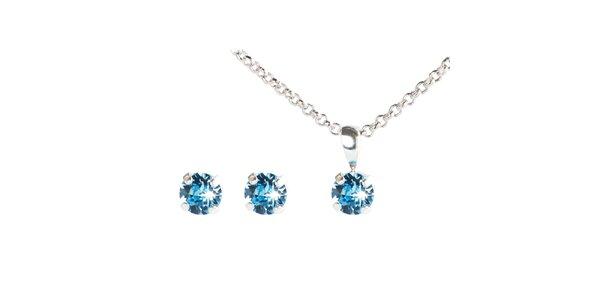 Dámsky modrý set náušnic a retiazky s kryštálmi Swarovski Destellos