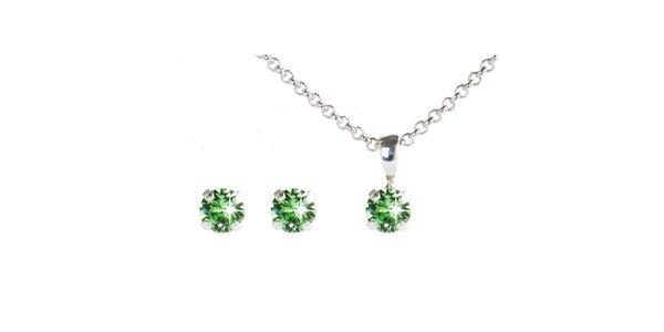 Dámsky zelený set náušnic a retiazky s kryštálmi Swarovski Destellos
