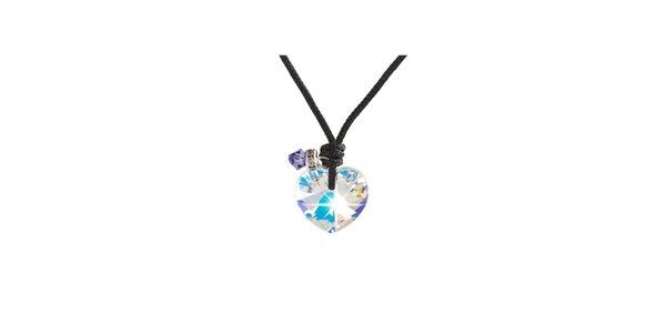 Dámsky náhrdelník srdiečko s fialovým kryštálom Destellos