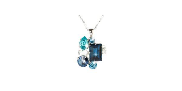 Dámsky strieborný náhrdelník s modrými Swarovski kryštálmi Destellos