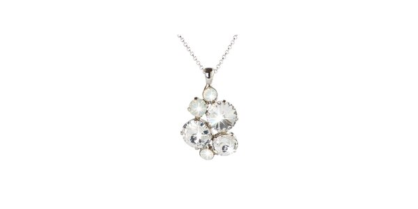 Dámsky strieborný náhrdelník s priehľadnými Swarovski kryštálmi Destellos