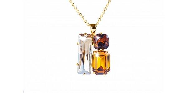 Dámsky zlatý náhrdelník so Swarovski kryštálmi Destellos