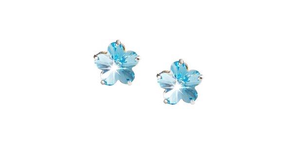 Dámske modré náušnice v tvare kvetín Destellos
