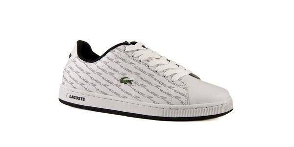 6c7d8bb7e Dámske biele kožené topánky Lacoste so šedou potlačou