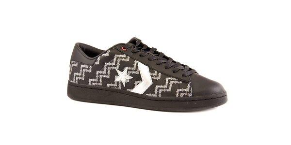 Pánske čierne kožené tenisky Converse s bielou potlačou