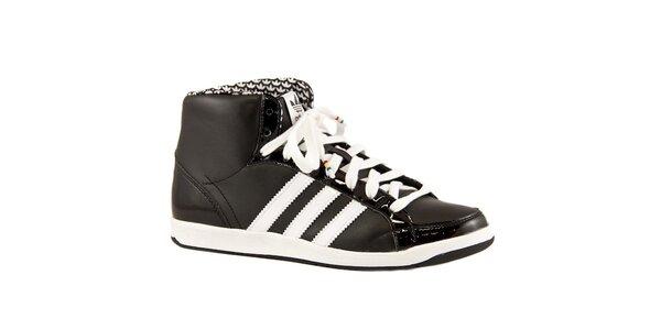 Čierne kožené členkové tenisky Adidas s bielymi prúžkami