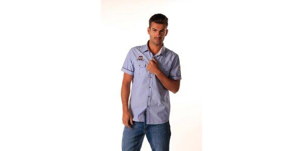 Pánska modrá košeľa s nášivkami Celop