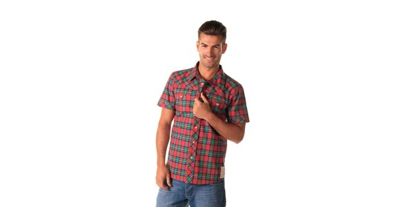 Pánska károvaná zeleno-červená košeľa Celop