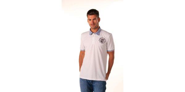 Pánske biele polo tričko s modrým pruhovaným límčekom Celop