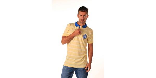 Pánske žlté polo tričko s modrým límčekom Celop