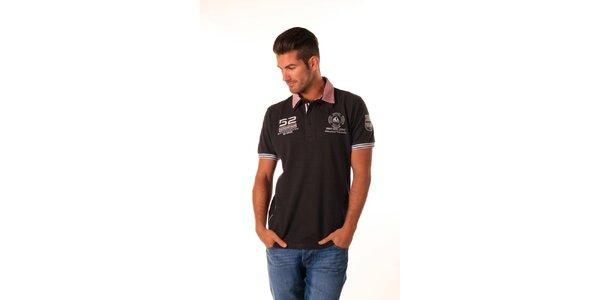 Pánske čierne polo tričko s červeným límčekom Celop