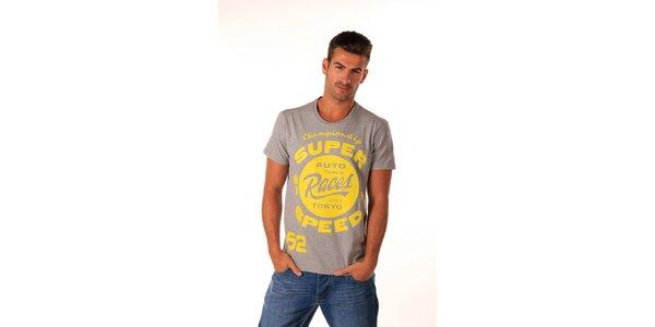 Pánske šedé tričko s žltým potiskom Celop