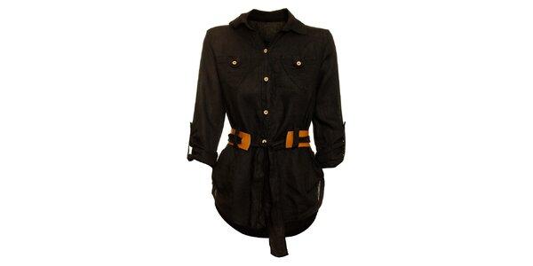 Dámska čierna košeľa s karamelovým opáskom Puro Lino