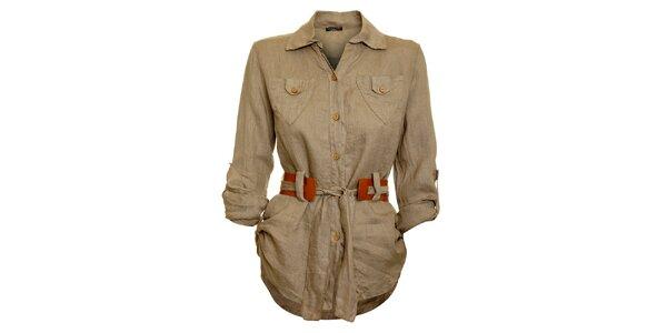 Dámska hnedo-béžová košeľa s karamelovým opáskom Puro Lino