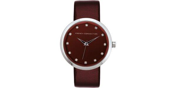 Dámske vínové analógové hodinky French Connection s kryštáľmi