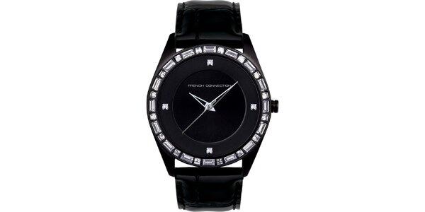 Dámske čierne analógové hodinky French Connection s kryštáľmi