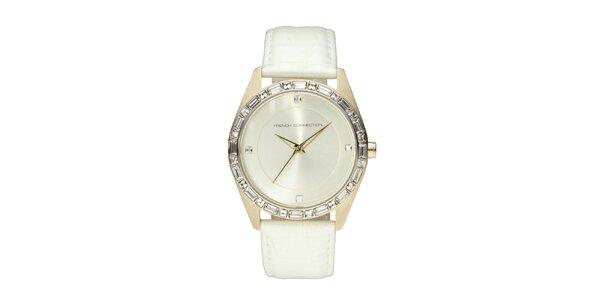 Dámske zlato-biele analógové hodinky French Connection s kryštáľmi