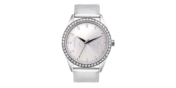 Dámske strieborné analógové hodinky French Connection s kryštáľmi